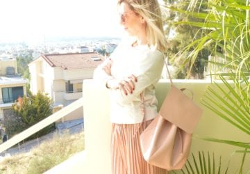 pullandbear-pink-pleated-skirt-bershka-sneakers-promod-blouse