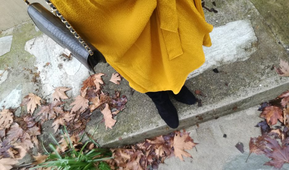 Yellow dress in winter